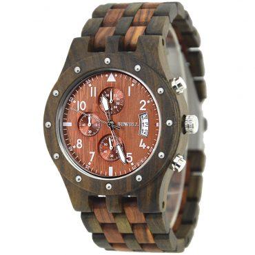 Een houten horloge voor heren met een korting